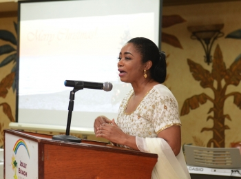Lady Williams addresses the audience at the Community Charitable Ministry at the group's 8th annual Charity Dinner last week