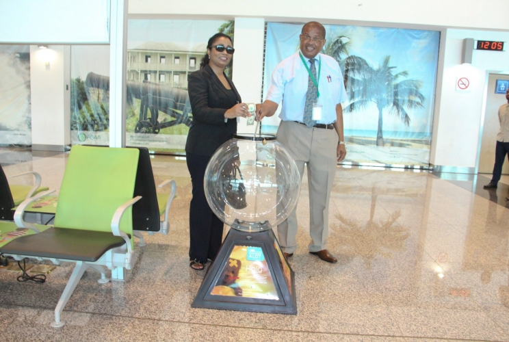 Donation Globe installed in VC Bird International Airport